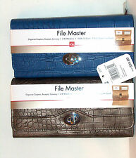 Mundi Croc Croco Faux Leather File Master Coupons Organizer TriFold Wallet nwt