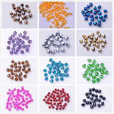 Lots 100Pcs Faceted Glass Grystal Loose Bicone Spacer Beads Jewelry Fingings 4MM