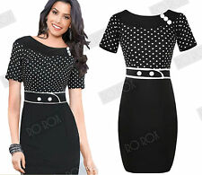 Black Rockabilly Pencil Wiggle 50s Polka Dot Vintage Pinup Button Hepburn Dress