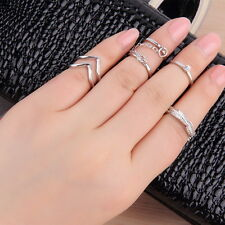 6pcs/Set Rings Urban Gold stack Crystal Cute Above Knuckle Ring Band Midi Ring E
