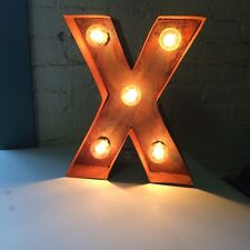 "Rustic Lighted Marquee Letter-12"" Tall Tin- Letter X"