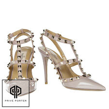 AUTHENTIC NUDE POUDRE VALENTINO PATENT 100MM ROCKSTUDS ANKLE STRAP HEELS
