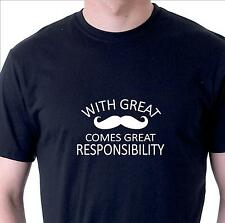 Funny T-shirt With great mustache comes great responsibility Movember cotton tee