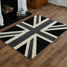 NEW MODERN BLACK GREY UNION JACK SMALL MEDIUM LARGE X LARGE CHEAP SOFT RUGS MATS