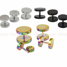 1 Pair Stainless Steel Fake Illusion Cheater Ear Tunnel Plug Studs Earrings