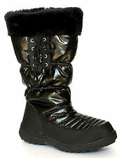 F&S Everest UK 5 & 6 Black Quilted Zip Up Mid Calf Boots with Faux Fur Trim