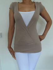 WOMANS LADIES 100% COTTON TUNIC WRAP TOP STRAPPY INSIDE VEST FROM EX-NEW LOOK!