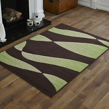 SMALL MEDIUM LARGE X LARGE CHOC BROWN GREEN TWIST DESIGN CHEAP SOFT RUGS MATS