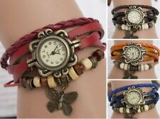 Women Vintage New Leather Bracelet Butterfly Decoration Quartz Wrist Watch EVM
