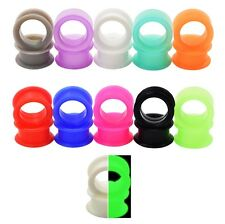 1 Pair Flexible Silicone Ear Flesh Tunnels Plugs Stretching Earskin Earlets New
