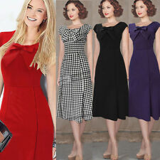 Womens Vintage Bow Casual Work Party Evening Mermaid Summer Sheath Wiggle Dress