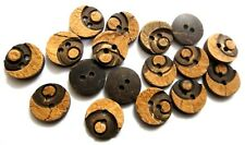 """THE MOONRISE 2 Hole COCONUT SHELL Button-Sewing Scrapbook 13 mm (1/2"""") Size 20"""