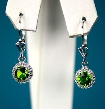 Sterling Silver 925  Halo Dangle Round Leverback Pierced Earrings Birthstone