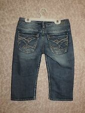 WOMENS-SILVER-JEANS-SZ-25-TUESDAY-BEACH-DENIM-BERMUDA-SHORTS-WHISKERS-DISTRESSED