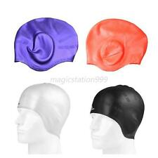 Waterproof Unisex Adult Stretch Swimming Long Hair Cap Hat Ear Cup Silicone M61
