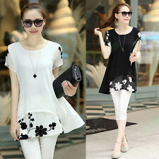 Fashion Women Loose Shirt Chiffon Floral Short Sleeve Blouse Casual Dress Tops