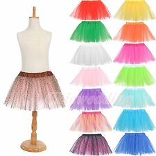 Girls Kids TUTU Skirt Party Ballet Dancewear Dress Pettiskirt Multi-colors 3-7Y