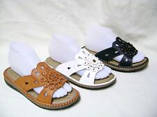 New Women's Fashion Black/Brown/White Flower Sandals Flat Shoes