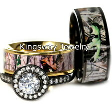 His Hers 3 piece Titanium Camo 925 STERLING SILVER Engagement Wedding Rings Set
