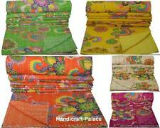 Indian Twin Size Kantha Quilt Floral Bedspread Throw Reversible Ralli Blanket