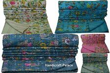 Indian Kantha Quilt Floral Paradise Twin Size Bedspread Cotton Throw Blanket