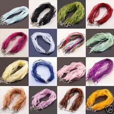 20Pcs Organza Chains Lobster Clasps Necklace Charms Finding String Cord DIY 48cm