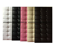 NEW LEATHER CUBED DIAMANTE HEADBOARD FROM £9.89 FREE P&P (5 COLORS + 6 SIZES)