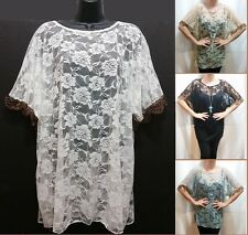 Flower Sheer Tunic Lace Top Net Crochet Boho Cover Up Blouse Glitter XL1x 2x NEW