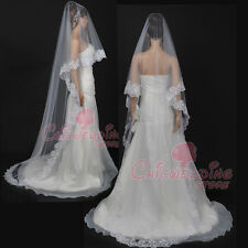 White/Ivory 1 Tiers Long Cathedral Length Embroidered Voile Wedding Bridal Veil