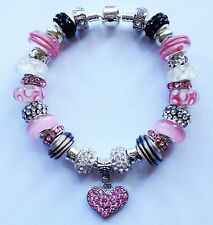 """AUTHENTIC PANDORA """"Chic In Pink"""" Sterling Silver 925 European Charm Bracelet!"""