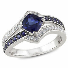 Sterling Silver 1 3/5 Ct TGW Blue Sapphire and 1/6 Ct TDW Diamond Cocktail Ring