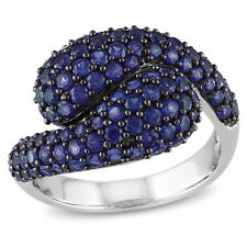 Amour Sterling Silver Created Blue Sapphire Cocktail Ring