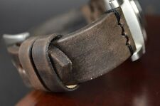 MA WATCH STRAP 24 MM REAL VINTAGE LEATHER BAND F.PANERAI HANDMADE OIL BLACK I