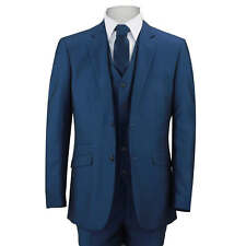 Mens Royal Blue 3 Piece Suit Work Wedding Prom Party Blazer Waistcoat Trousers