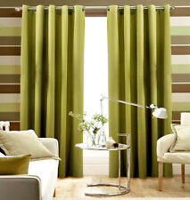 """Pair Of LIME GREEN Eyelet Ring Top BLACKOUT Curtains  53"""" wide x 72""""  Drop"""