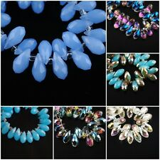 20Pcs Charms Faceted Glass Crystal Teardrop Pendant Finding Spacer Beads 6x12mm