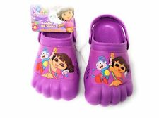 NEW Dora the Explorer Kids Purple Silly Feet Clogs Shoes Toddlers 5/6 7/8 9/10