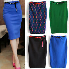 HOT Womens High Waisted Belted Pencil Skirt Stretch Bodycon Knee Length Skirt