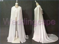 Long Chiffon White hooded wedding capes cloaks bridal bridesmaid prom Costumes