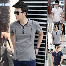 Summer New Mens Slim Fit Casual Shirt Short Sleeve V-Neck T-Shirt Summer Top Tee