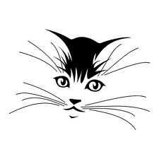 House Cats Face & Whiskers Outline Vinyl Wall Art Sticker Style Pet Cat Pussy