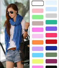 Crinkle Womens Long Candy colors Neck Scarf Wraps Shawl Stole Soft Scarves vr