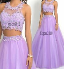 Two Pieces Lavender Lace Bead Bridesmaid Evening Prom Dress Gown Sz 6 8 10 12 14