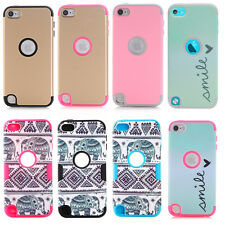 For Apple iPod Touch 5th Gen Hard Soft Rubber High Impact Armor Case Hbrid Cover