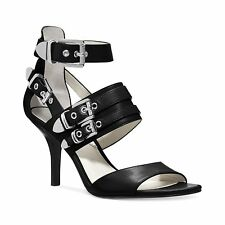 NEW - MSRP $195 - MICHAEL KORS CASSIE Strappy Buckle Mid Heel Sandals, BLACK   *