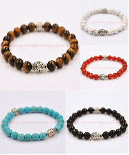Fashion natural Tiger's eye bead 8 10mm Tibetan silver Buddha lucky man bracelet