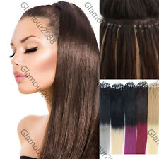 """New 100S 16""""-26""""Micro Ring Loops Beads Tip Remy Human Hair Extensions Straight"""