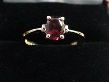VINTAGE 10K YELLOW GOLD GOLD SOLITAIRE GARNET RING SIGNED BADAVICI