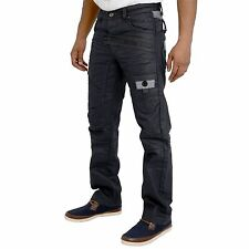 MENS JEANS NEW ARRIVALS BLACK COATED CLASSIC FIT STRAIGHT LEG JEANS SALE PRICE