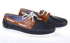 NEW MENS NAVY BROWN LEATHER LACE UP DECK BOAT CASUAL SHOES UK SIZE 7 8 9 10 11